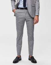 Ingen farve SELECTED - Slim fit - habitbukser - Grå / Light Grey Melange