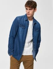 Ingen farve SELECTED - Denim - denim shirt - Blå / Medium Blue Denim